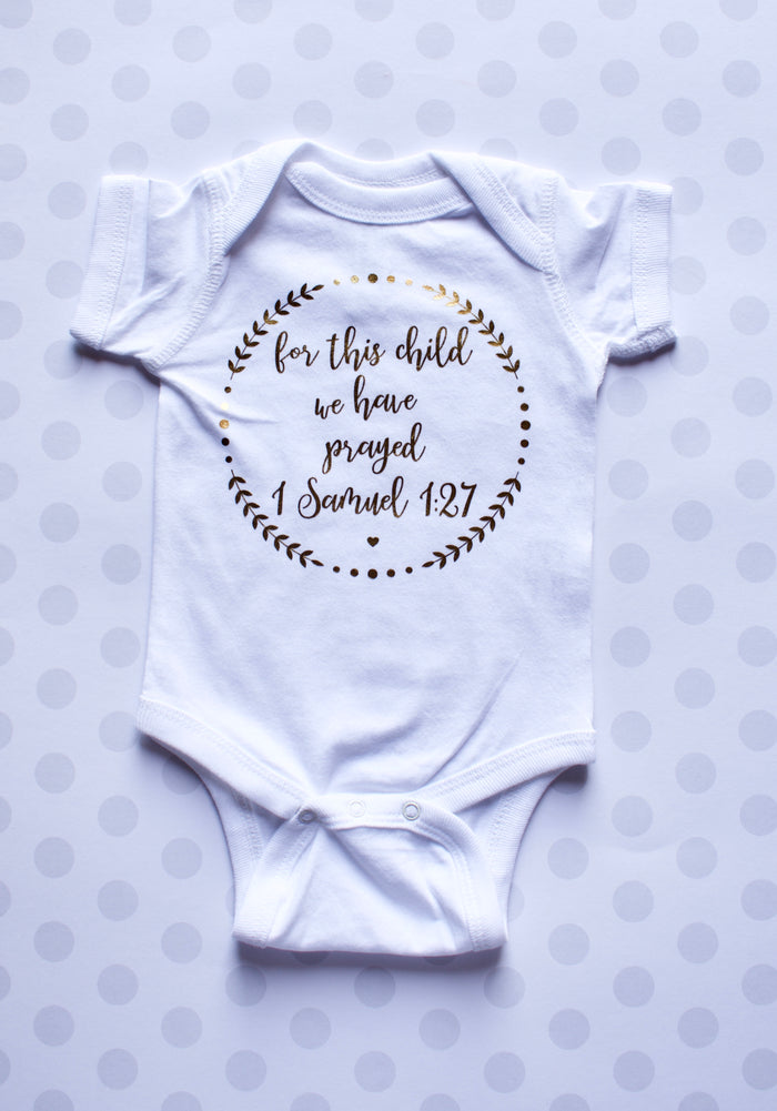 For This Child We Have Prayed Onesie - WHITE/GOLD, Onesie - itsmypartykids