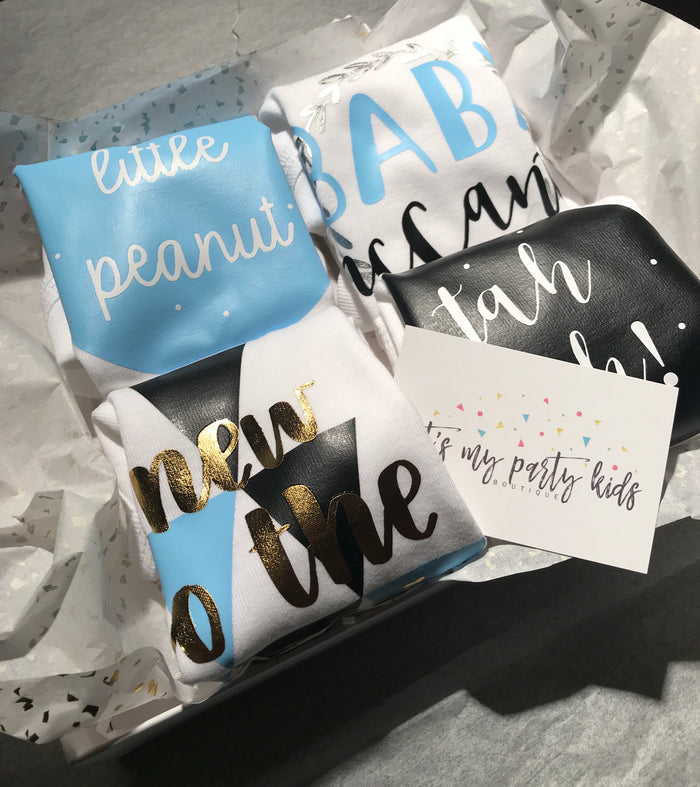 4-Piece Personalized Baby Onesie Gift Set| 0-3 Months| Baby Shower Gift - Baby Blue| Black, Gift Set - itsmypartykids
