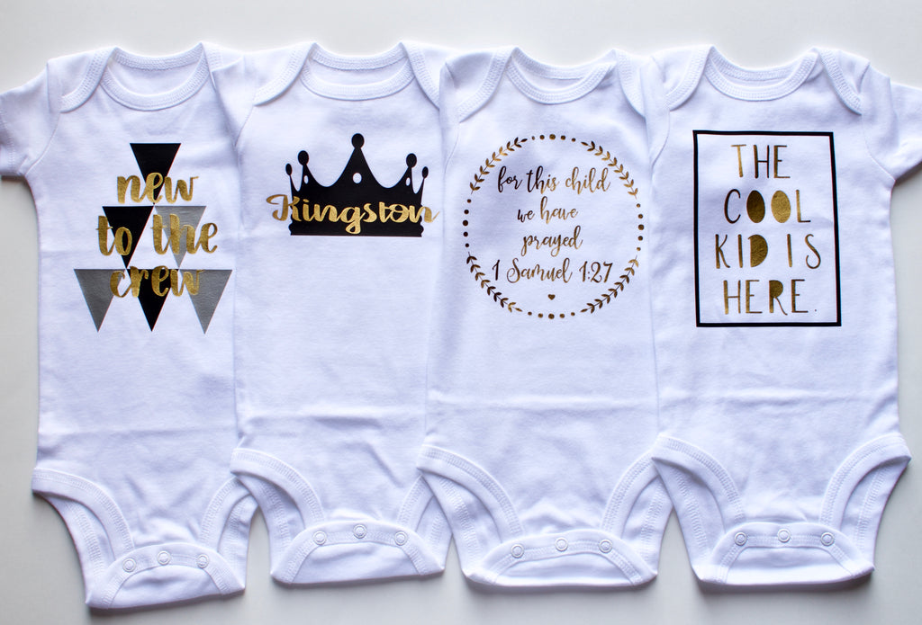 5-Piece Personalized Baby Onesie and Bib Gift Set| 0-3 Months| Baby Shower Gift - Black| Metallic, Gift Set - itsmypartykids