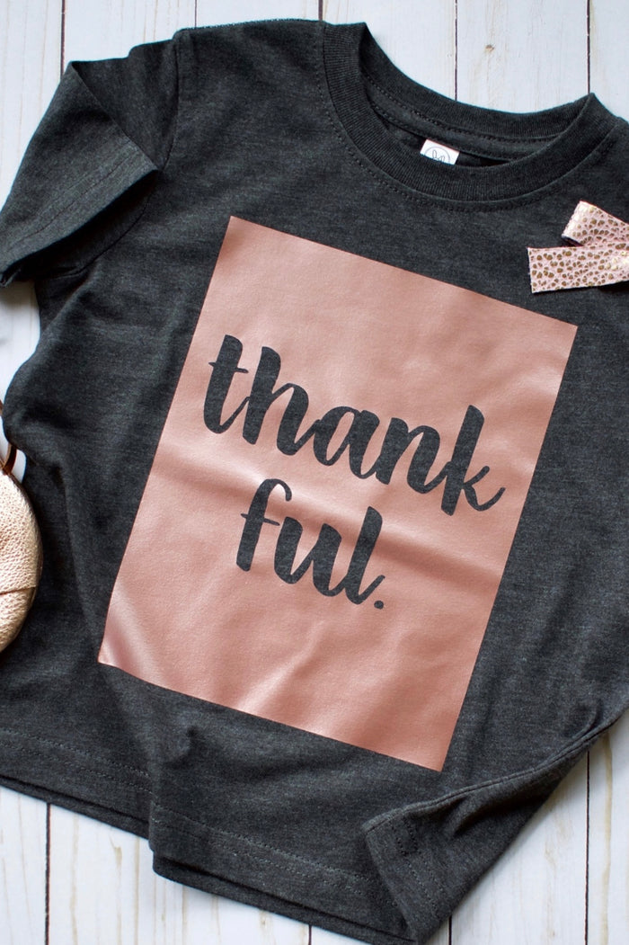 Thankful Rose Gold Shimmer Onesie or T-Shirt, TEES - itsmypartykids
