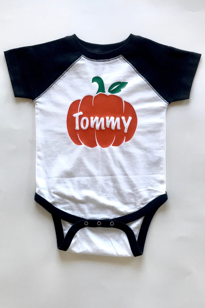 Personalized-Thanksgiving-Pumpkin-Raglan-Toddler-T-shirt-or-baby-onesie-It's My Party Kids Boutique