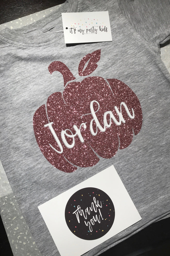 Personalized Glitter Pumpkin Onesie or T-Shirt - Rose Gold, TEES - itsmypartykids