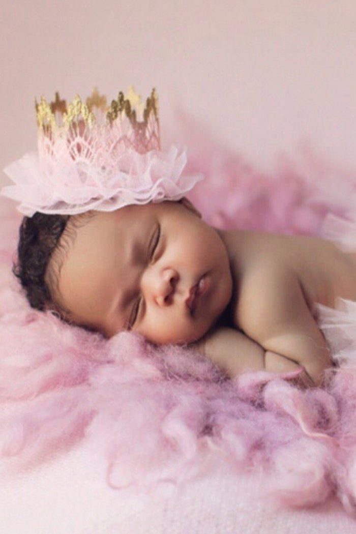 Gold and Pink Ombre Tulle Mini Crown, CROWNS - itsmypartykids