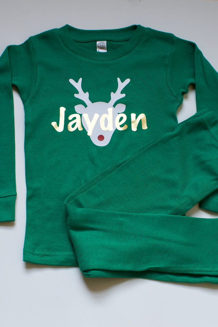 Personalized Rudolf Holiday Pajama Set - Green, HOLIDAY - itsmypartykids