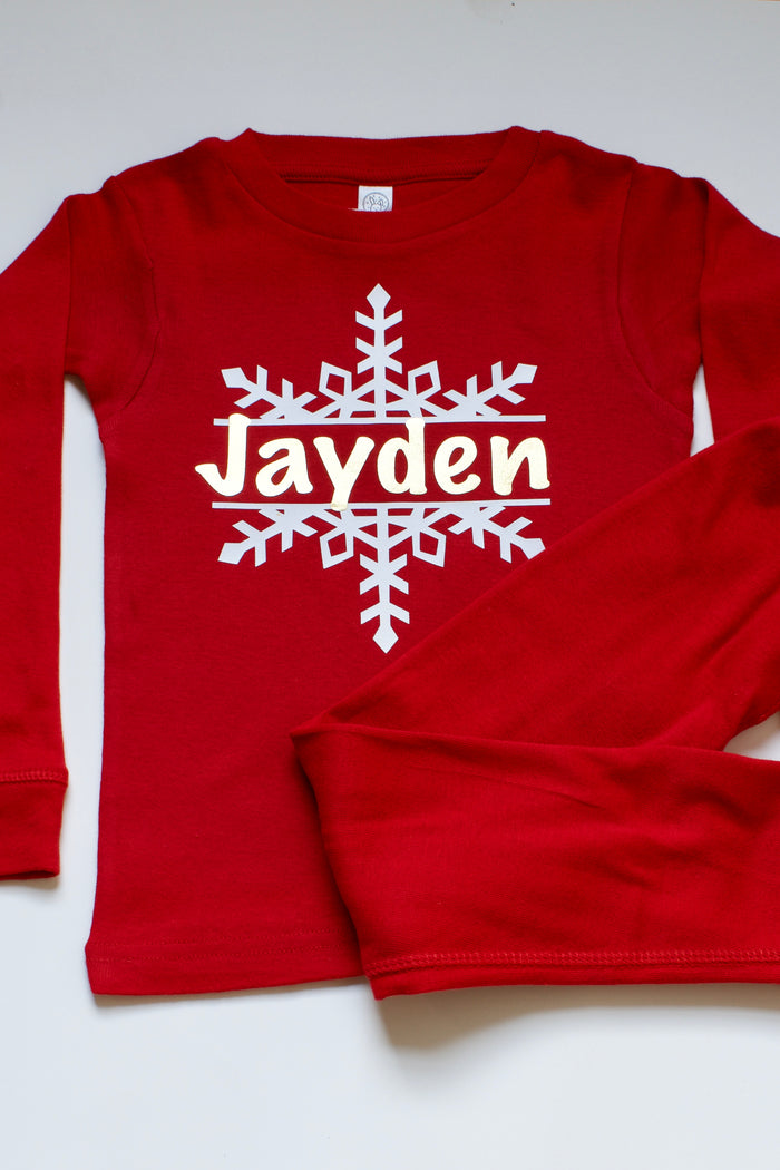 Personalized Snowflake Holiday Pajama Set - Red, HOLIDAY - itsmypartykids