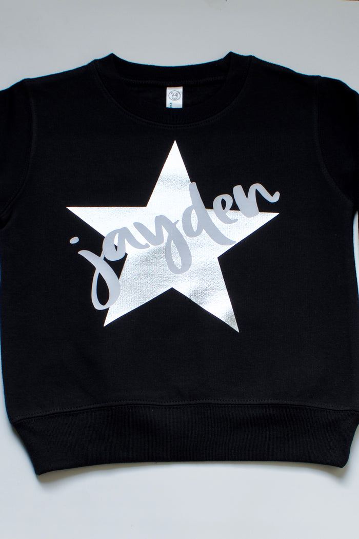 black-custom-monogram-silver-metallic-star-kids-sweatshirt-It's My Party Kids Boutique