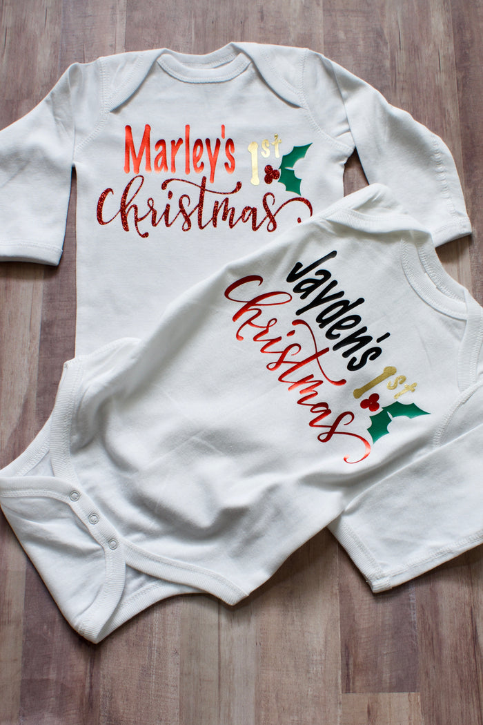 "Personalized ""First Christmas"" Onesie - White, HOLIDAY - itsmypartykids"