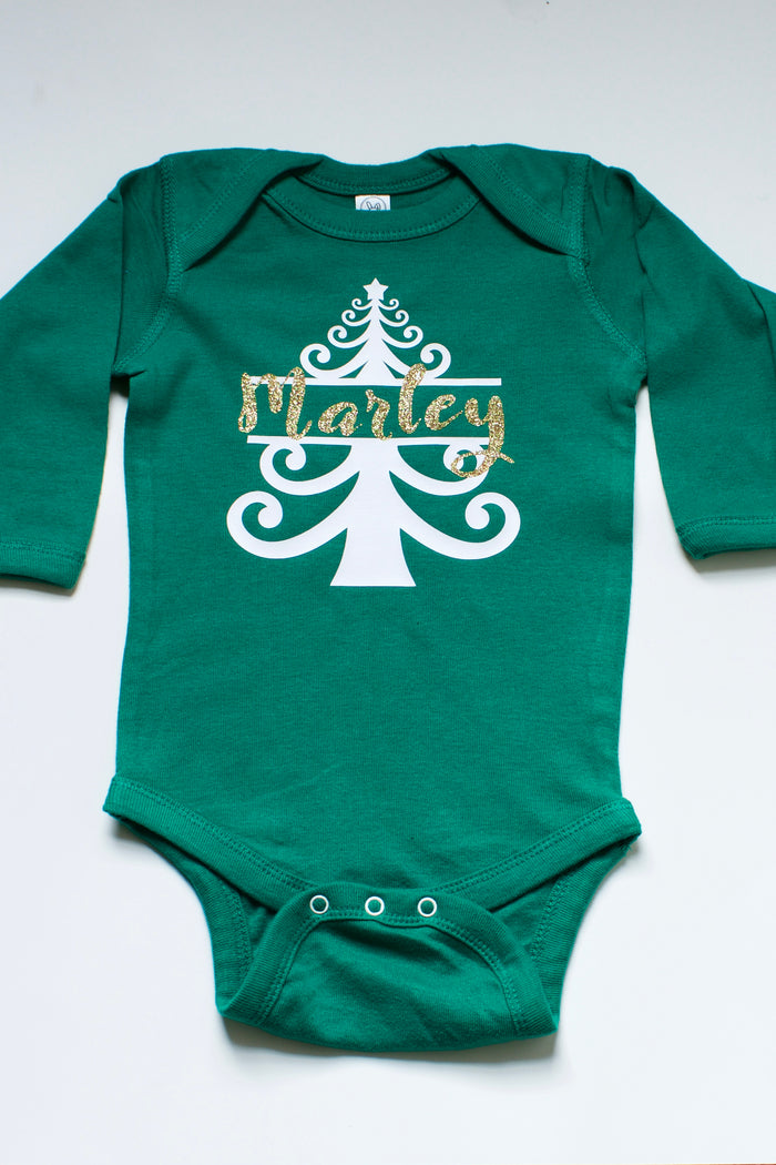 Personalized Christmas Tree Onesie - Green, HOLIDAY - itsmypartykids