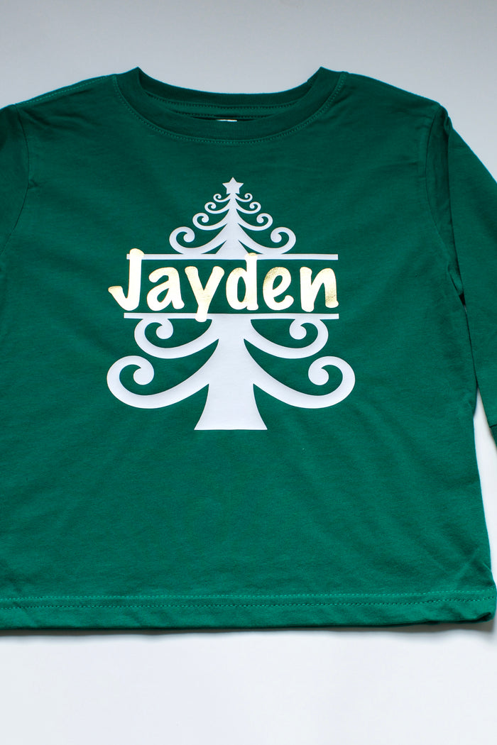Personalized Christmas Tree T-Shirt - Green, HOLIDAY - itsmypartykids