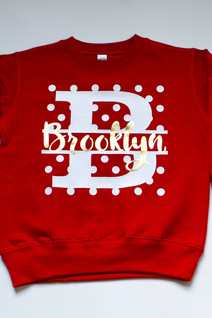 red-custom-monogram-kids-sweatshirt-It's My Party Kids Boutique