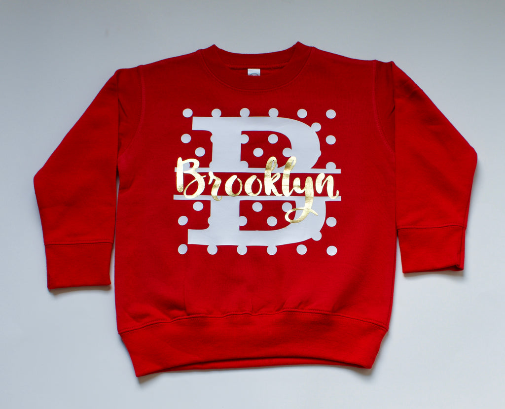 Personalized Monogram Dot Sweatshirt - Red, HOLIDAY - itsmypartykids
