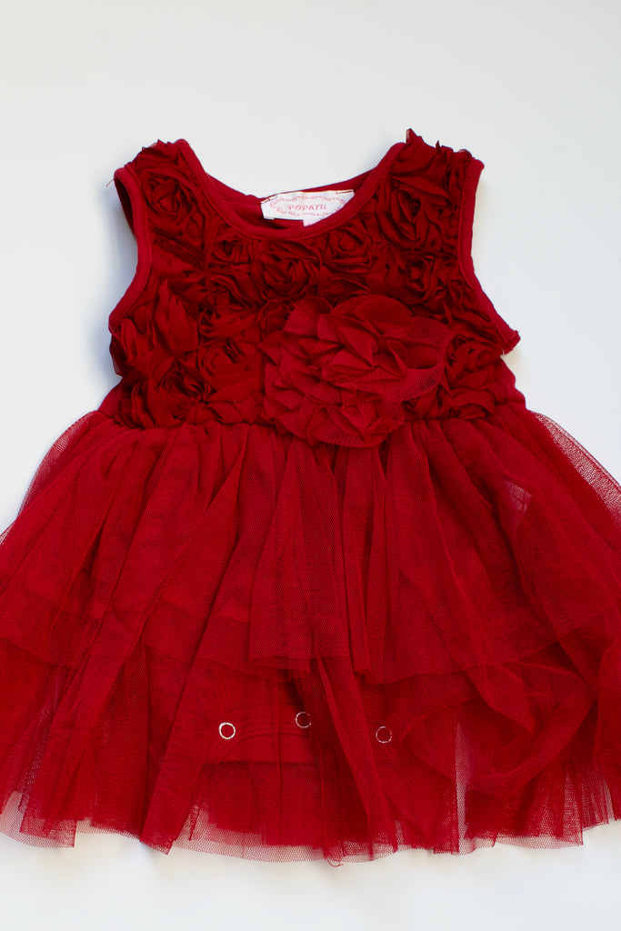 red rosette onesie tutu dress holiday red dress - its my party kids boutique