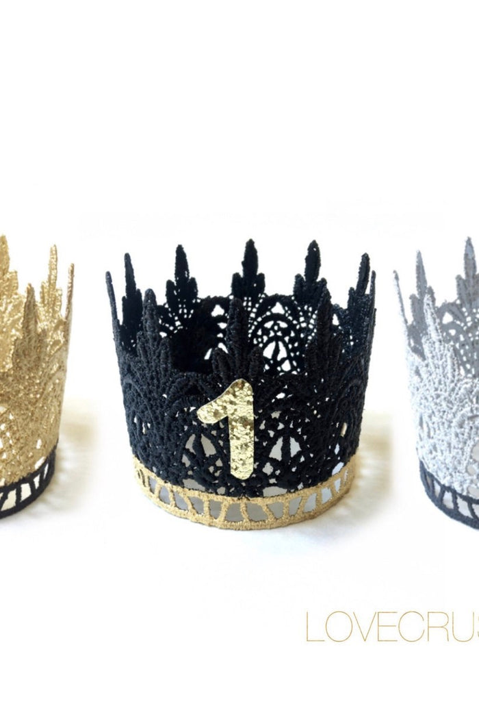 Black and Gold Mini Birthday Crown - One Year Old, CROWNS - itsmypartykids