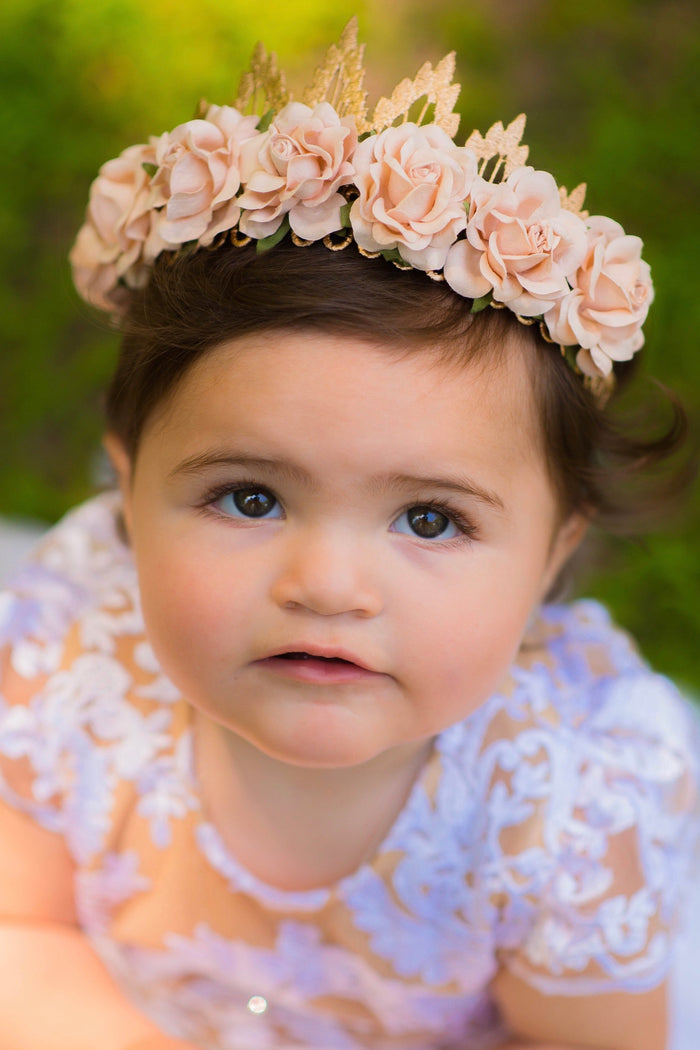 Rose Gold Lace Floral Tiara Crown, CROWNS - itsmypartykids