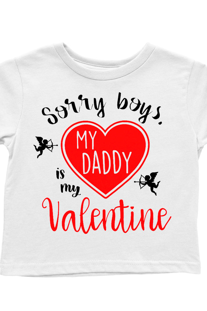 sorry-boys-my-daddy-is-my-valentine-cupid-kids-tee-shirt-It's My party Kids Boutique