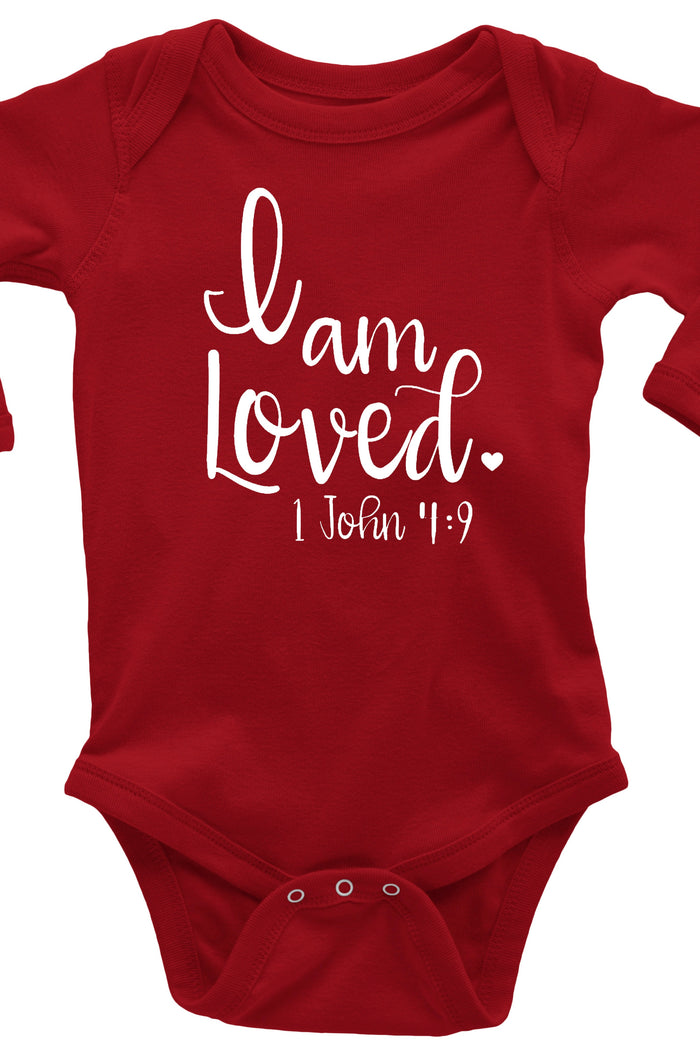 I am loved-scripture-baby-onesie-valentines-love-red-It's My Party Kids Boutique