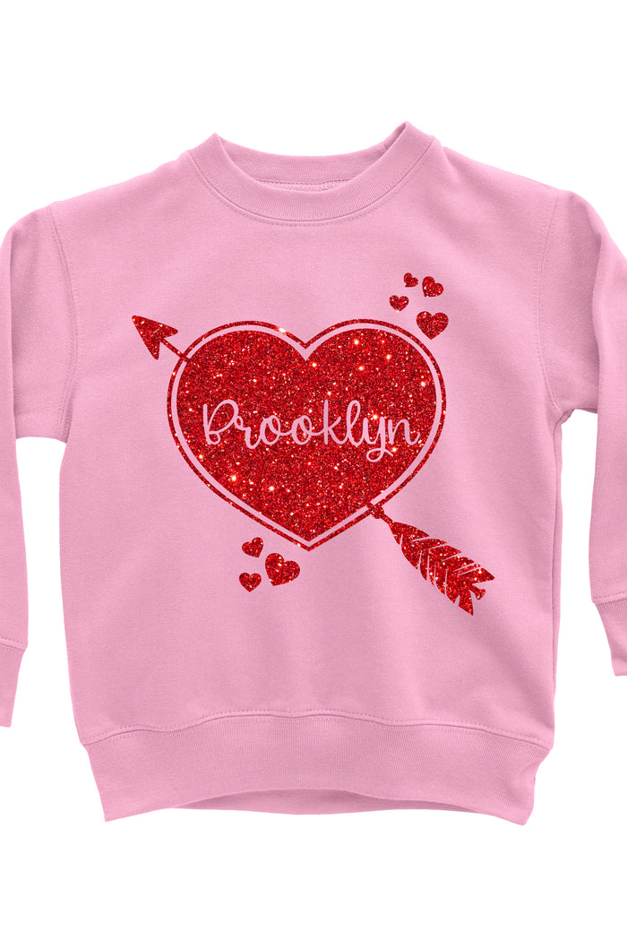 Valentine's Day Personalized Glitter Sweatshirt Cupid Heart Pink - It's My Party Kids Boutique