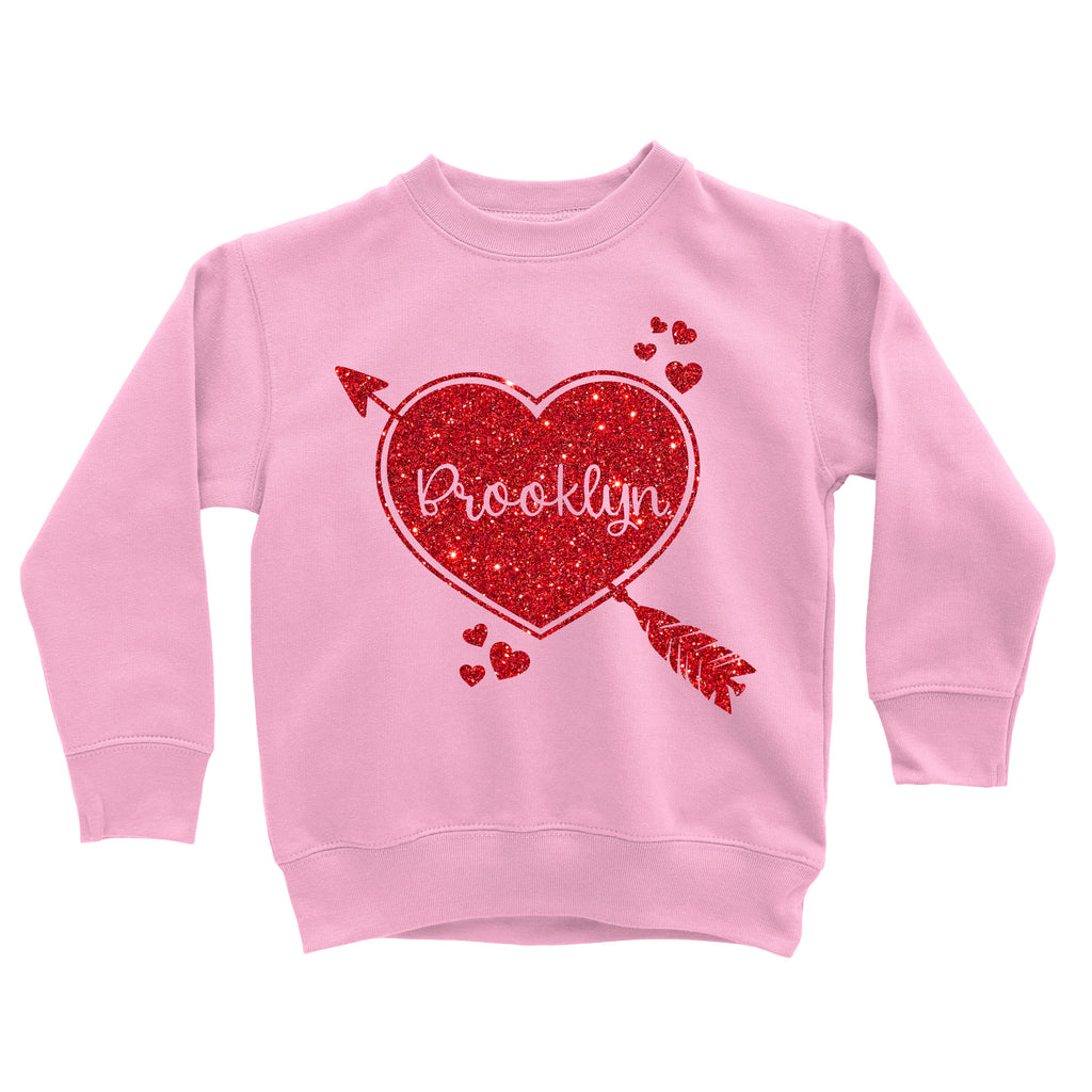 Valentine's Day Personalized Glitter Sweatshirt Cupid Heart Pink 2 - It's My Party Kids Boutique