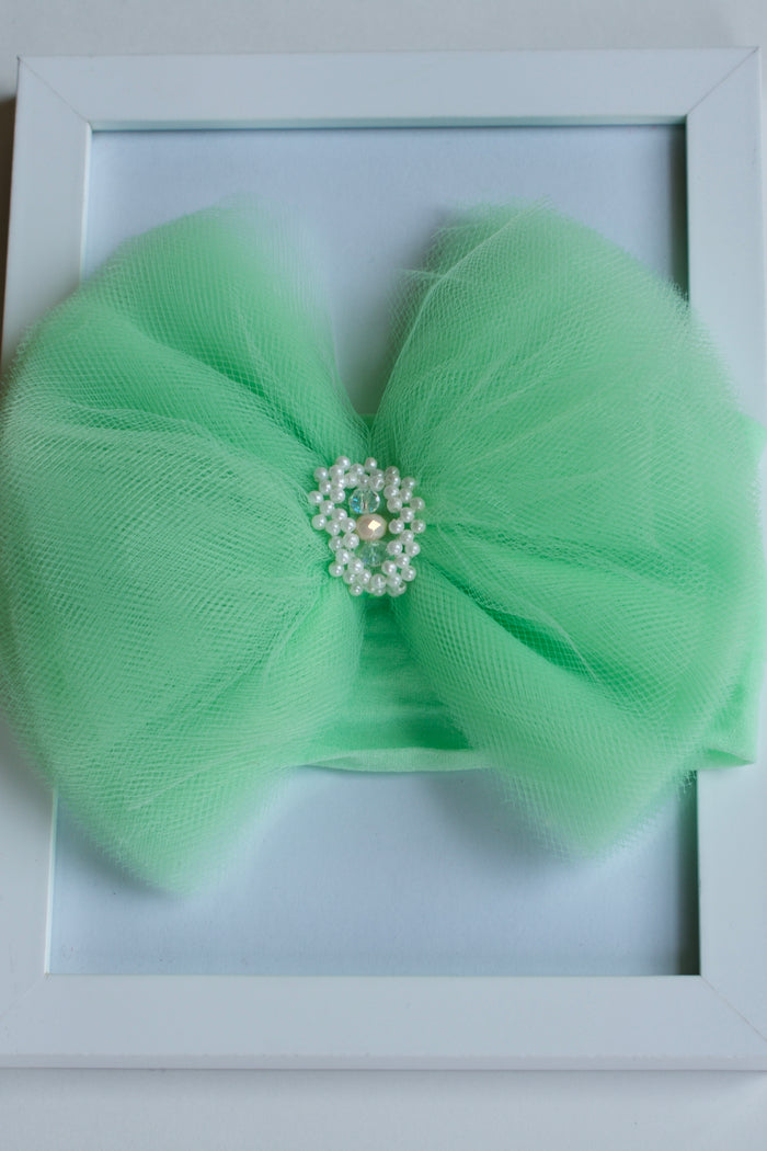OVERSIZED TULLE BOW STRETCH HEADBAND - MINT, HEADBAND - itsmypartykids