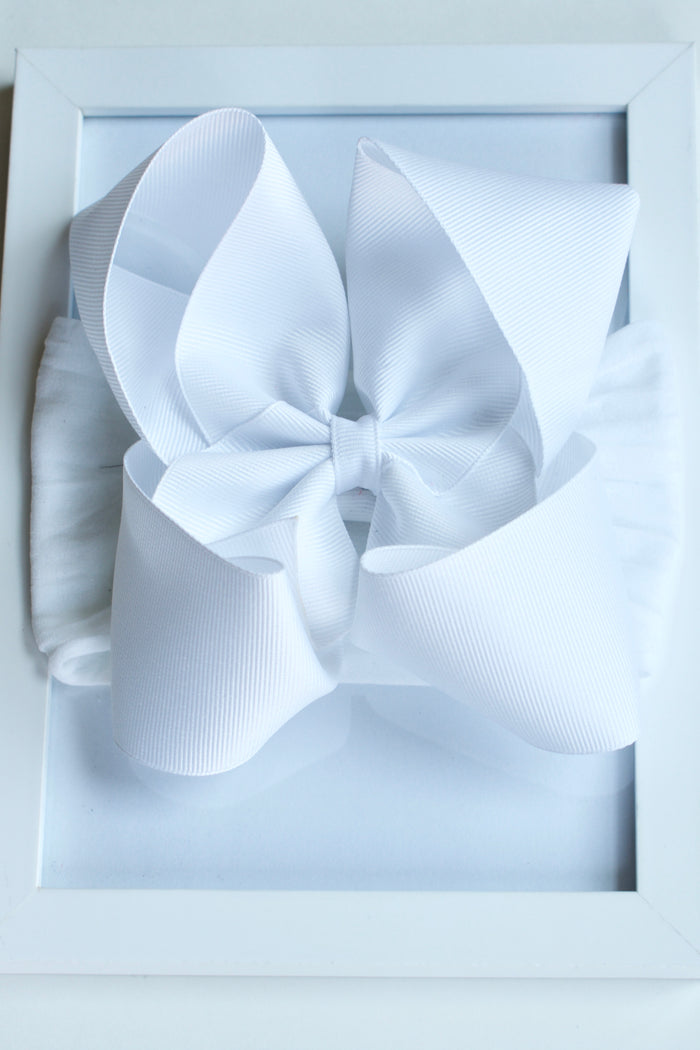 GROSGRAIN BOW STRETCH HEADBAND - WHITE, HEADBAND - itsmypartykids