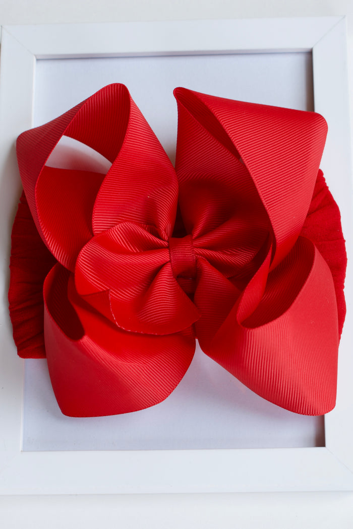 GROSGRAIN BOW STRETCH HEADBAND - RED, HEADBAND - itsmypartykids
