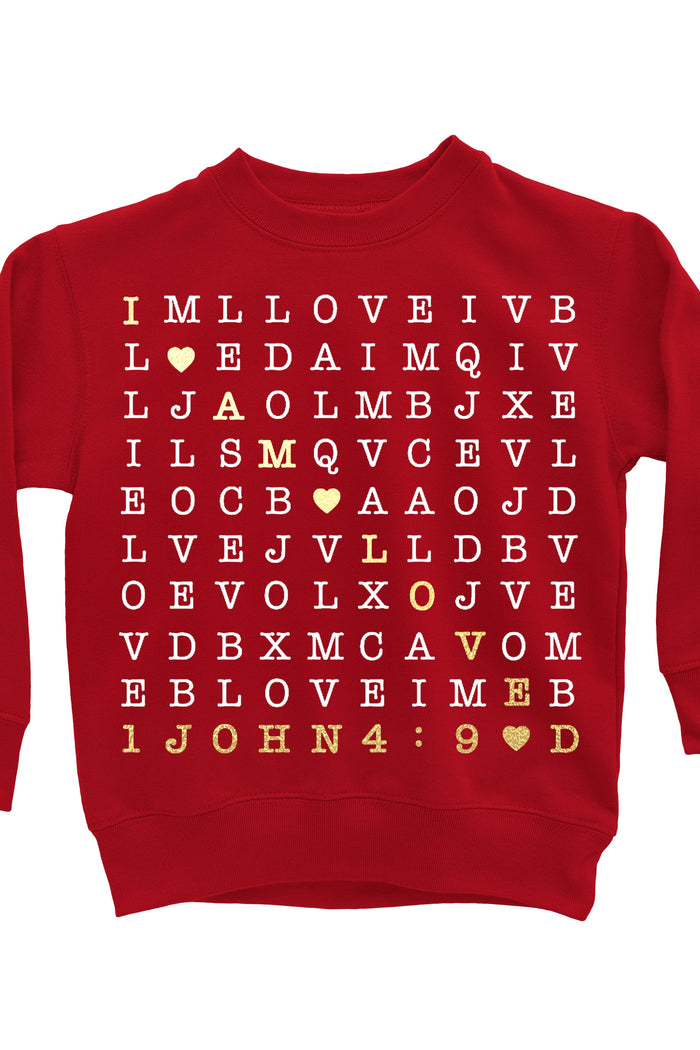 I Am Loved Scripture Crossword Sweatshirt - Red, TEES - itsmypartykids
