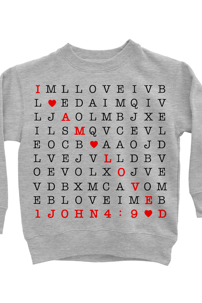 I Am Loved Scripture Crossword Sweatshirt - Gray, TEES - itsmypartykids
