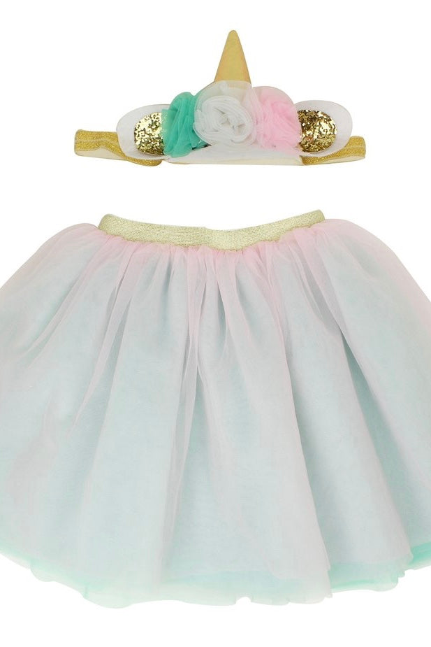 Pink and Mint baby or toddler Unicorn headband and tutu skirt set - It's My Party Kids Boutique