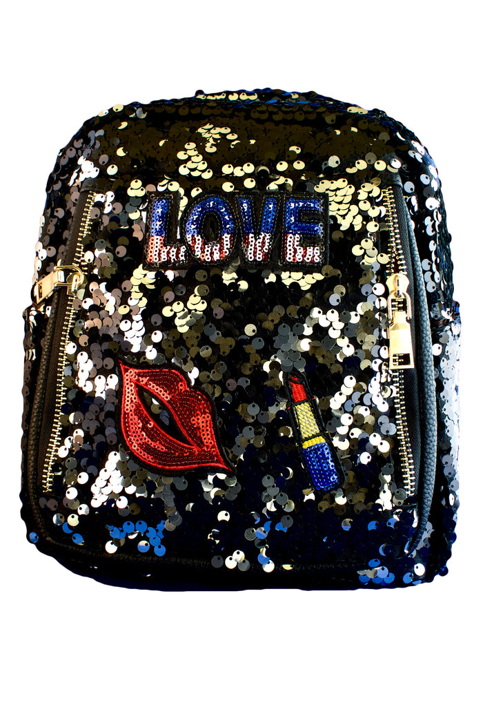 Black and Silver Sequin Faux Leather Backpack, PURSE - itsmypartykids