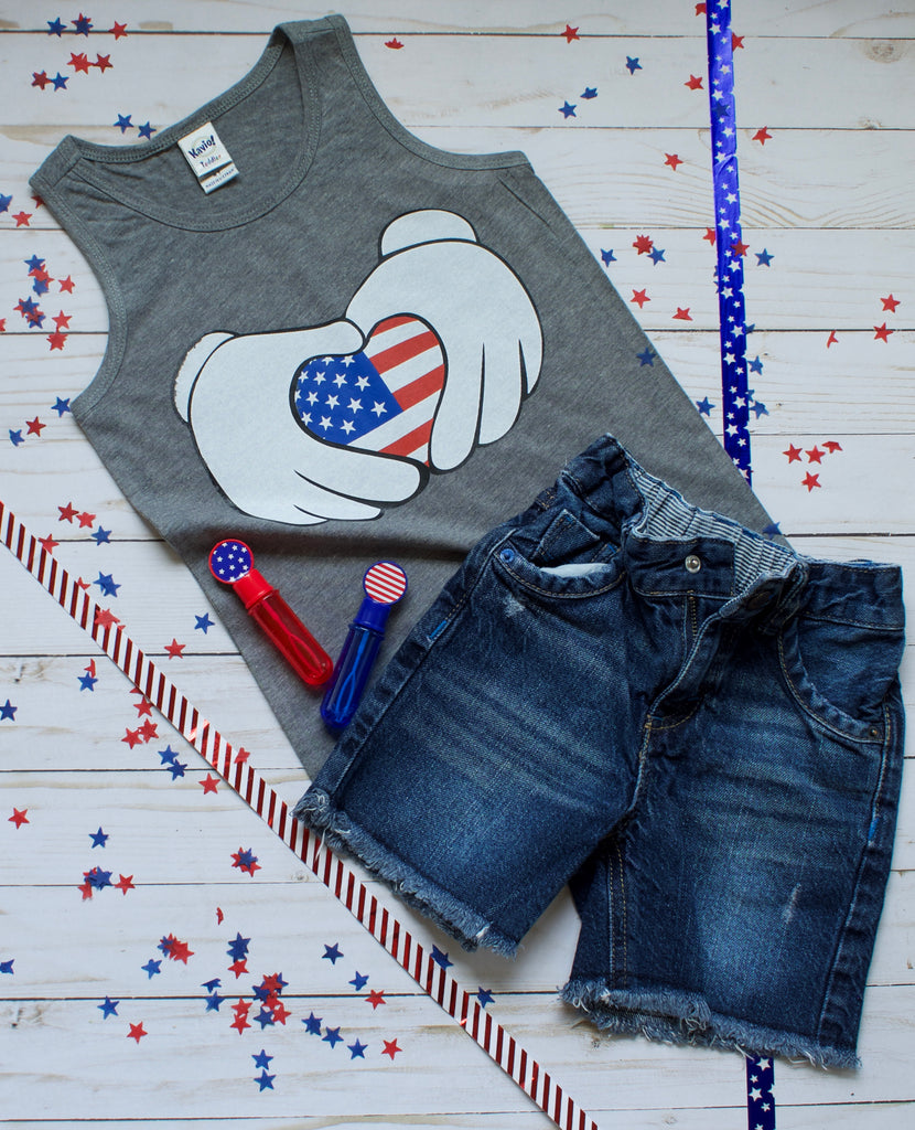 Mouse Patriotic Heart - Grey Tank T-shirt - 4th of July - USA - Flag, TEES - itsmypartykids