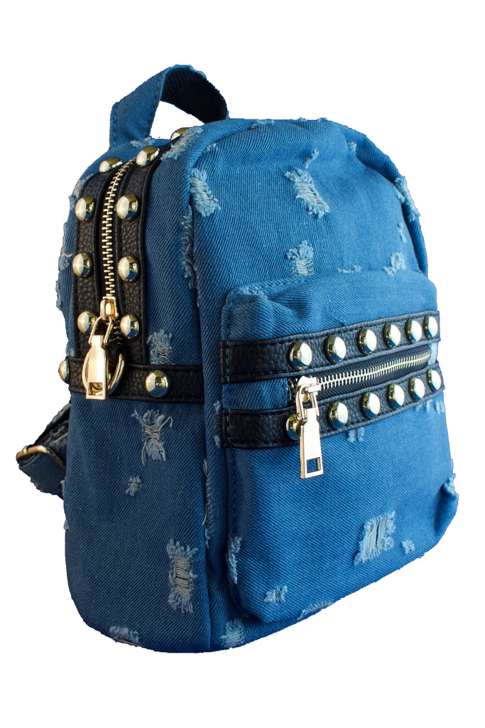 Distressed Blue Denim Studded Backpack, PURSE - itsmypartykids