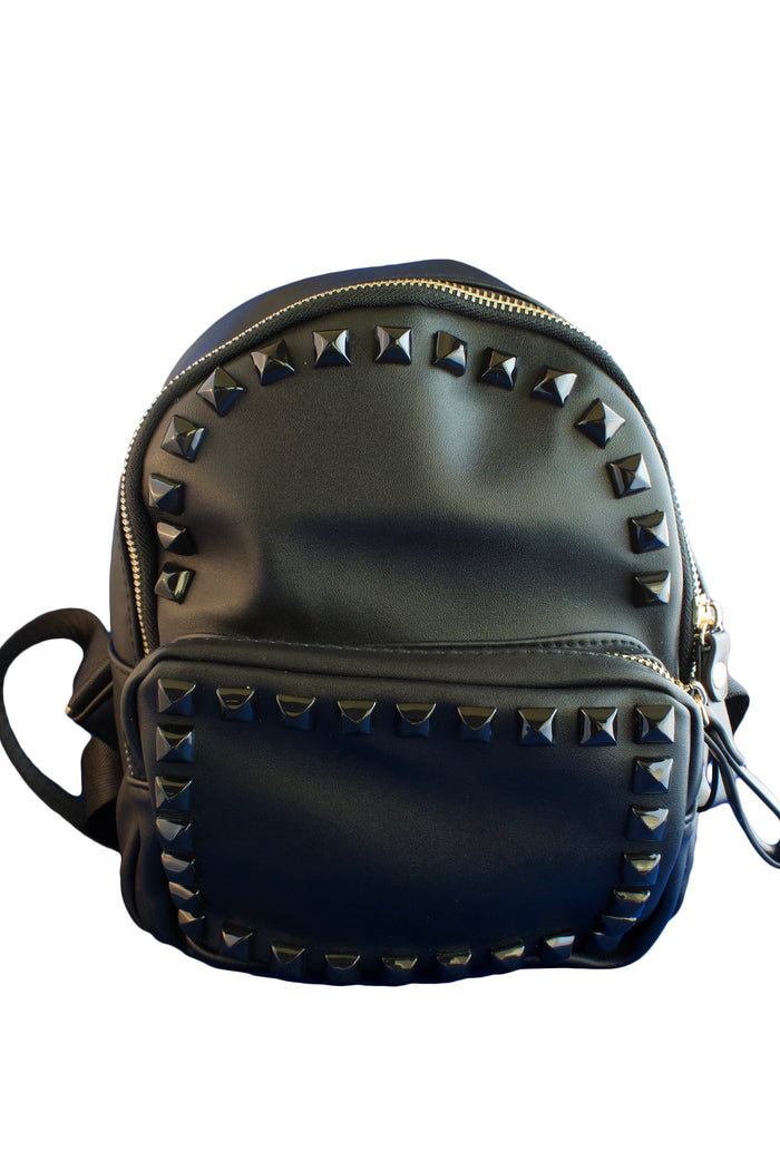 Black Faux Leather Studded Backpack, PURSE - itsmypartykids