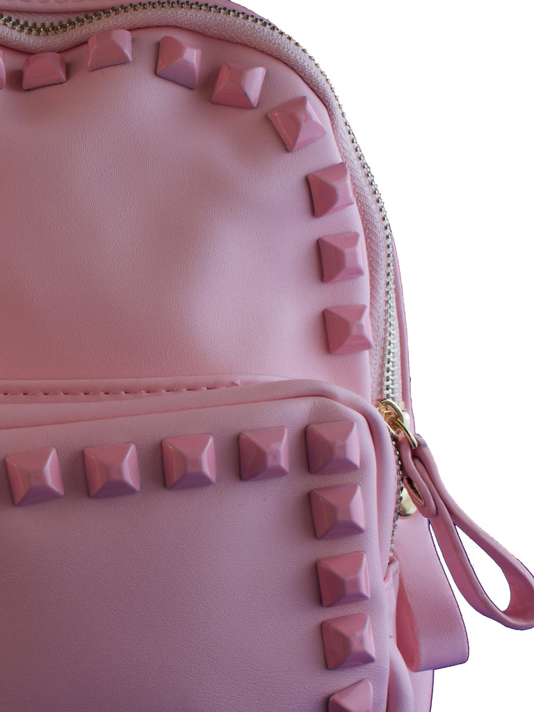 Pink Faux Leather Studded Backpack, PURSE - itsmypartykids