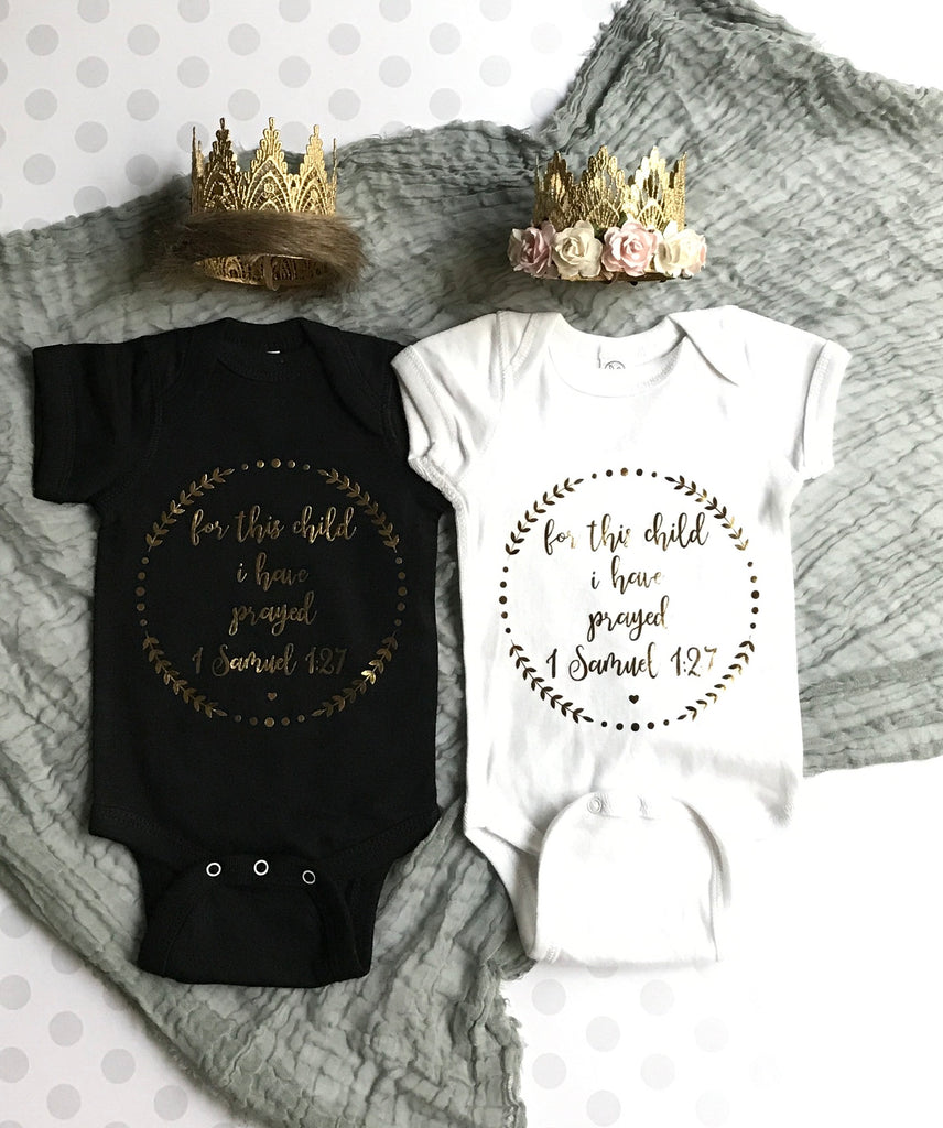 For This Child We Have Prayed Onesie - BLACK/GOLD, Onesie - itsmypartykids
