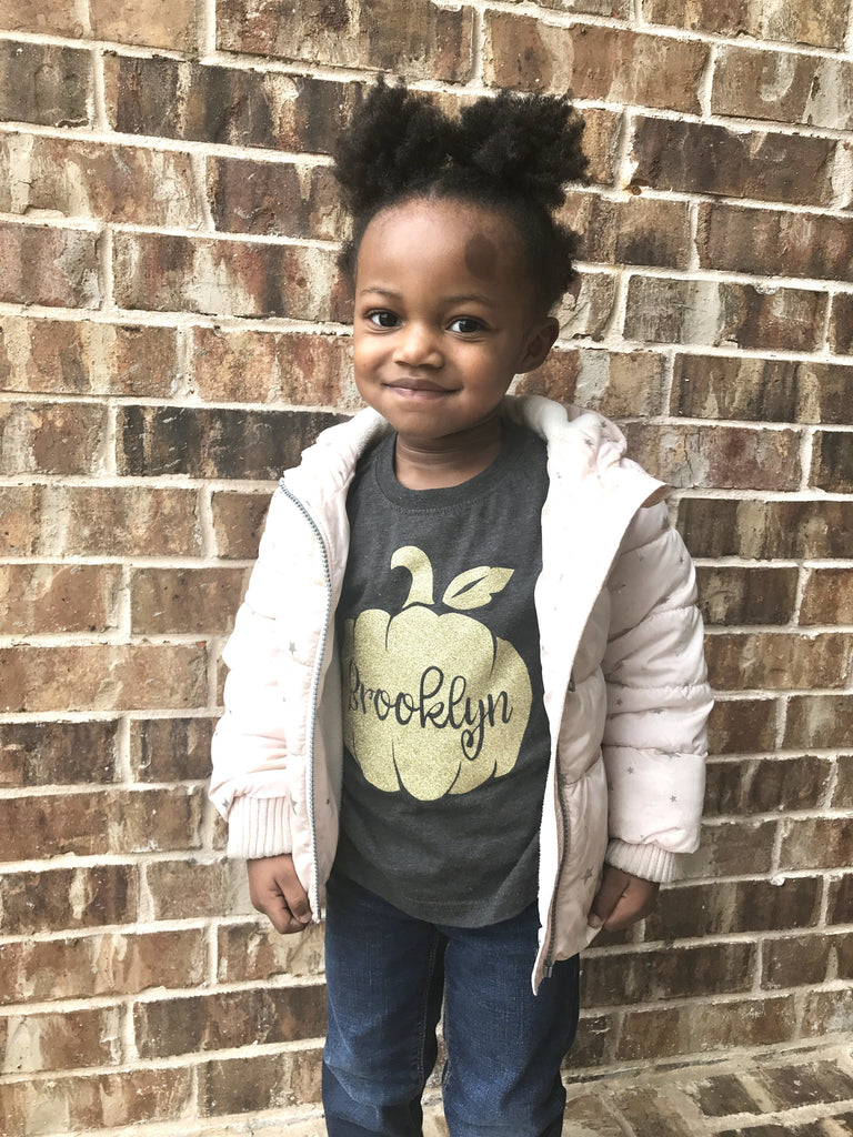 Personalized-Fall-Pumpkin-gold-Glitter-baby-Onesie-or-toddler-T-Shirt-2- It's My Party Kids Boutique