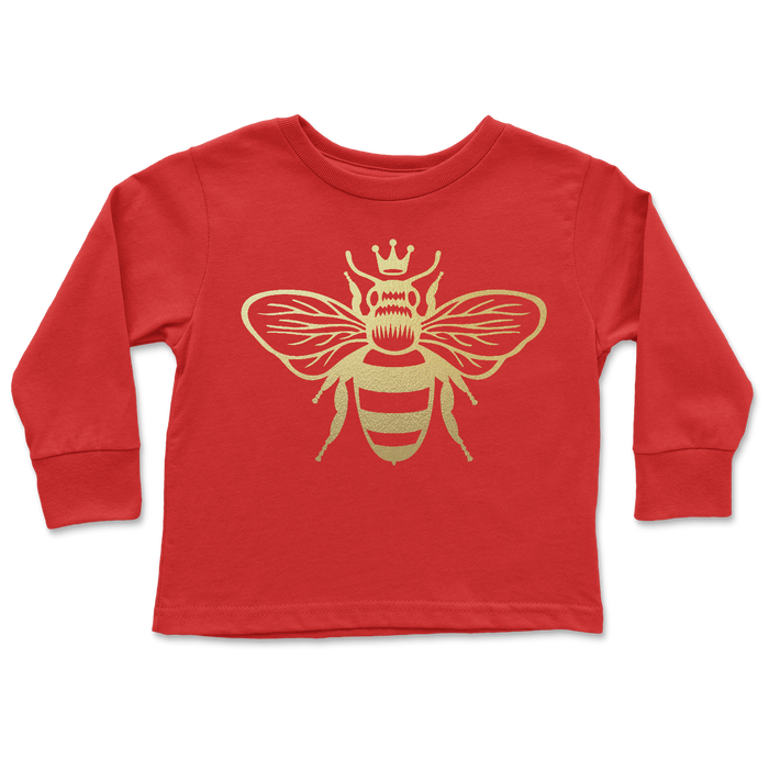 gold-metallic-queen-bee-kids-tee-shirt-red-its my party kids boutique