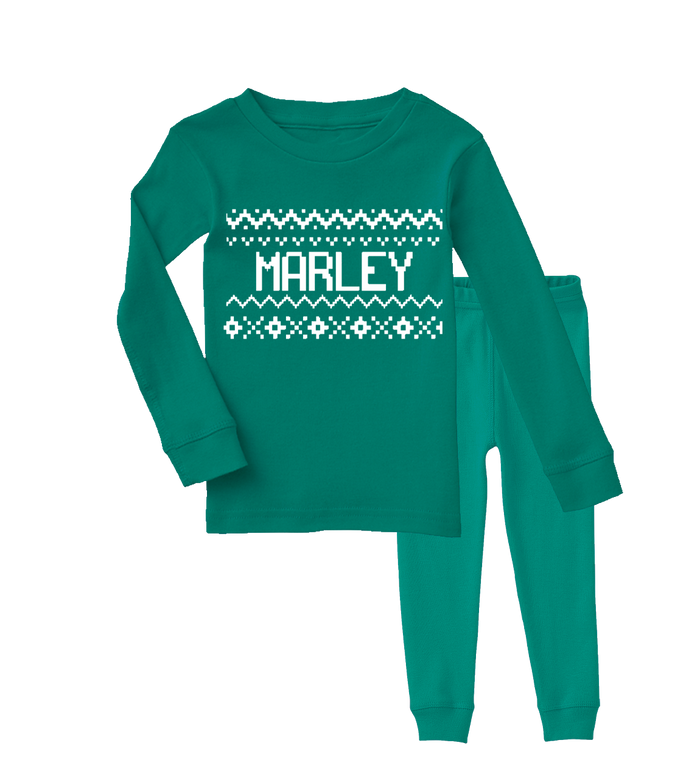 retro-cross-stitch-green-long-sleeve-personalized-name-kids-holiday-christmas-pajama-set-It's My Party Kids Boutique