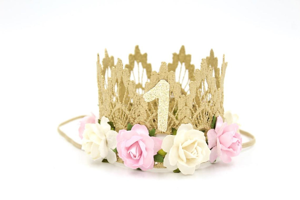 HALF OR FIRST BIRTHDAY FLORAL CROWN - IVORY/BABY PINK, CROWNS - itsmypartykids