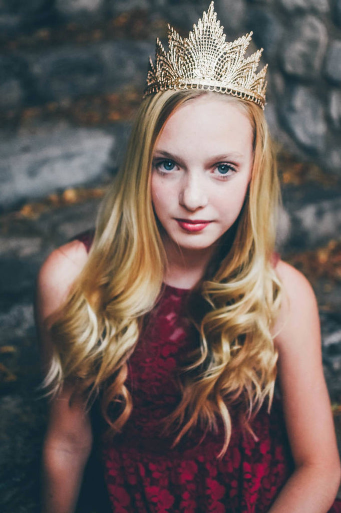 Gold Lace Tiara Crown, CROWNS - itsmypartykids