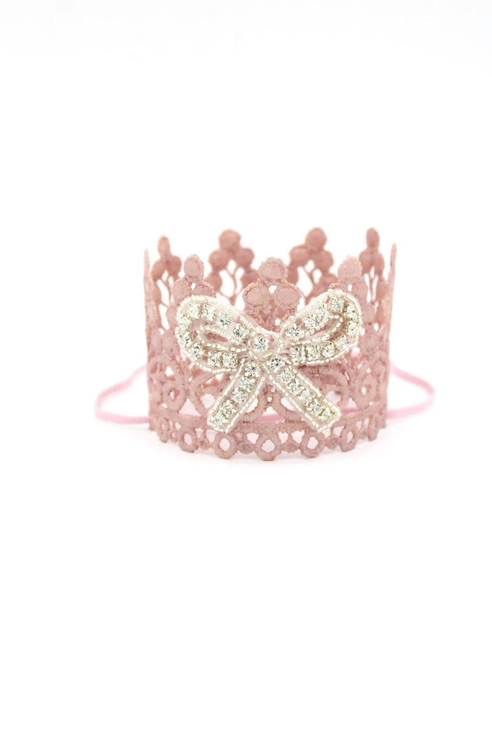 Rhinestone Bow Blush Mini Crown, CROWNS - itsmypartykids