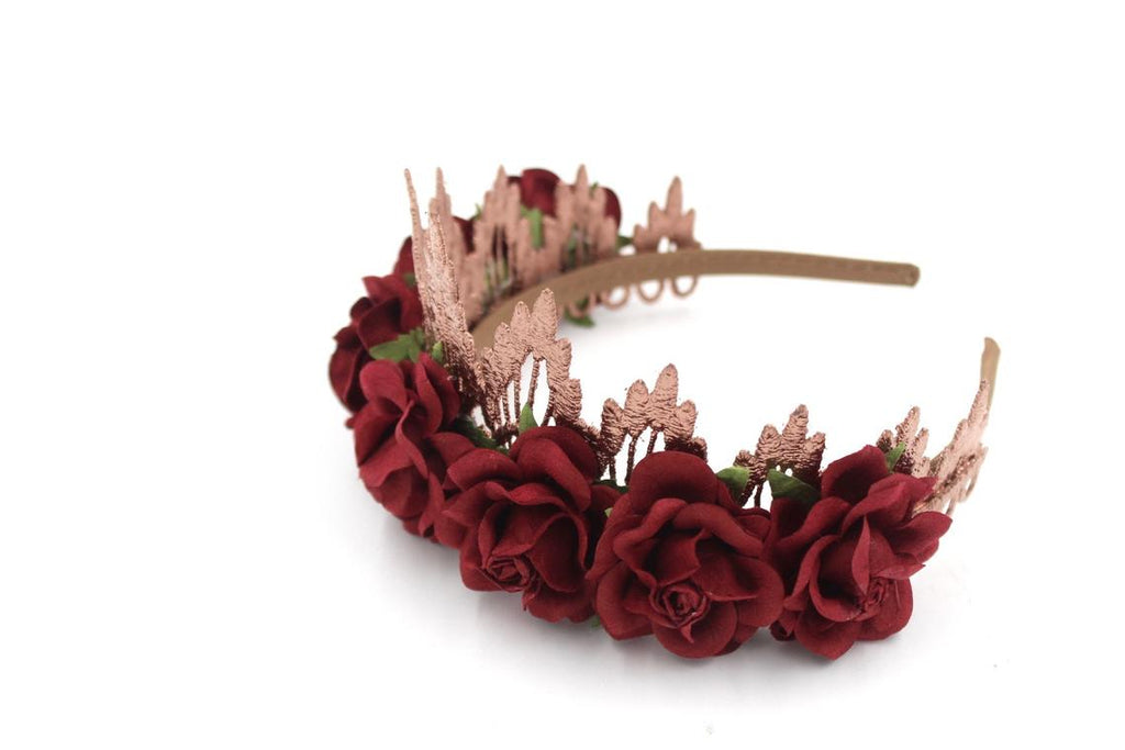 Rose Gold Lace Burgundy Floral Tiara Crown, CROWNS - itsmypartykids