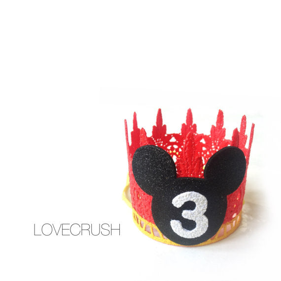 FIRST BIRTHDAY MOUSE CROWN - RED, CROWNS - itsmypartykids