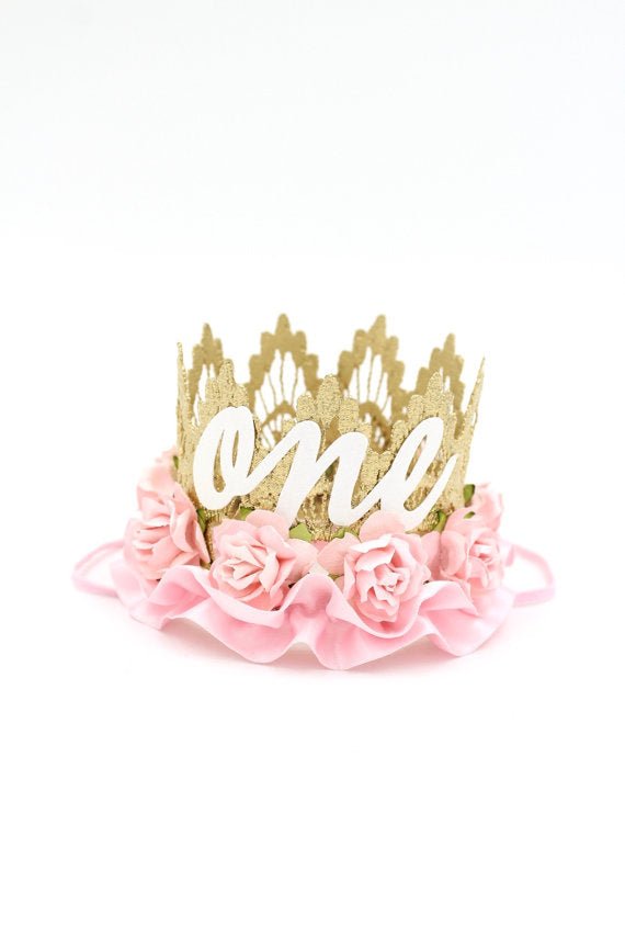 FIRST BIRTHDAY FLORAL RUFFLE CROWN - PINK - CURSIVE, CROWNS - itsmypartykids