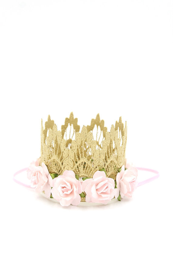 SASCHA FLORAL LACE CROWN - PINK, CROWNS - itsmypartykids