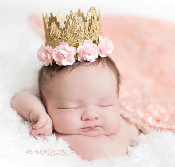 FLORAL LACE CROWN - PINK, CROWNS - itsmypartykids