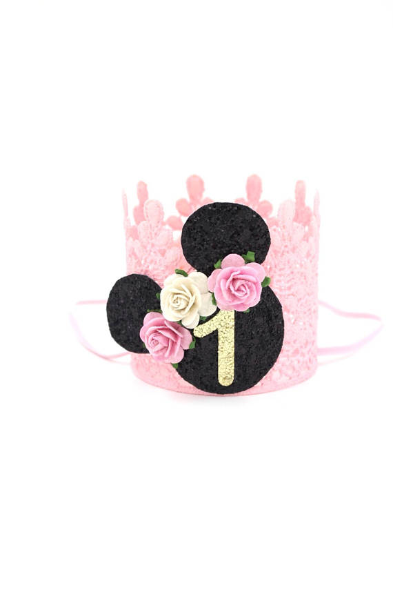 FIRST BIRTHDAY MOUSE FLORAL CROWN - VINTAGE PINK, CROWNS - itsmypartykids