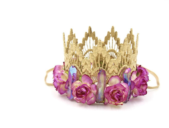CRYSTAL ORCHID FLORAL CROWN, CROWNS - itsmypartykids