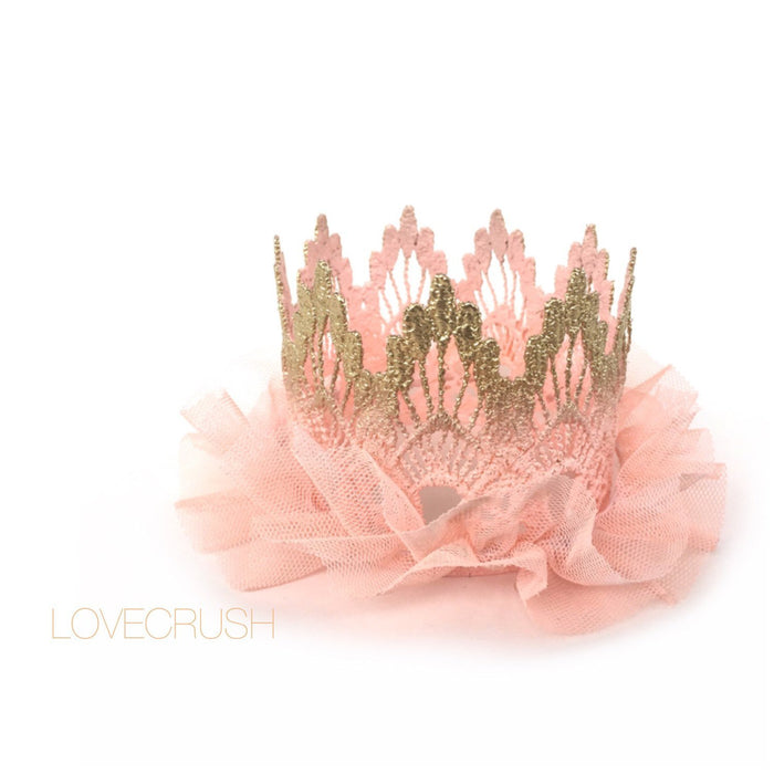 Gold and Peach Ombre Tulle Mini Crown, CROWNS - itsmypartykids