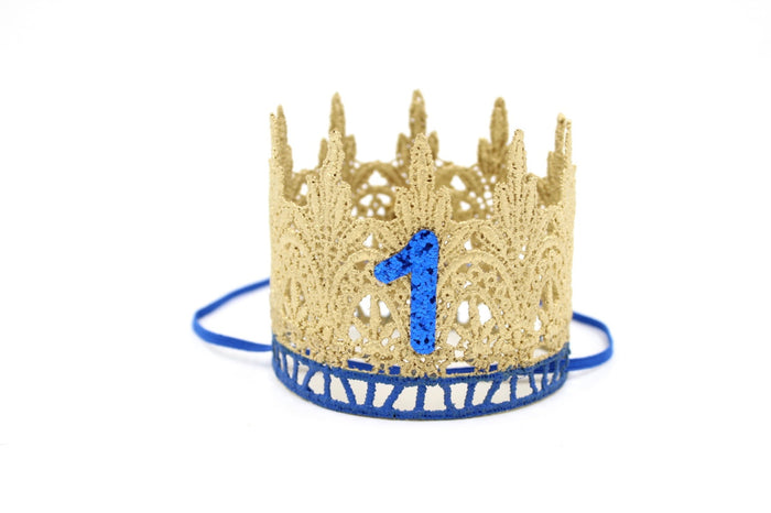FIRST BIRTHDAY CROWN - BLUE/GOLD, CROWNS - itsmypartykids