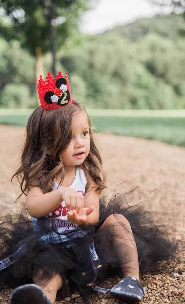 FIRST BIRTHDAY ROSETTE MOUSE CROWN - RED, CROWNS - itsmypartykids